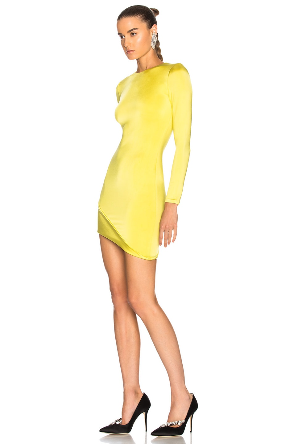 4a71c2b5983 Image 3 of Cushnie Asymmetrical Hem Long Sleeve Mini Dress in Citrine