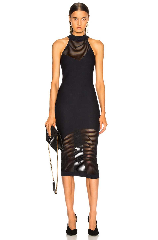 Image 1 of Cushnie Mock Neck Knit Dress in Ink & Black