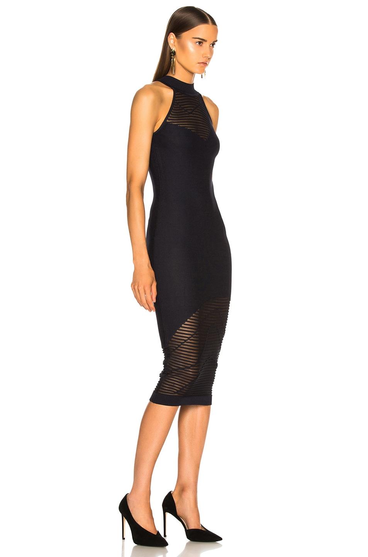 Image 2 of Cushnie Mock Neck Knit Dress in Ink & Black