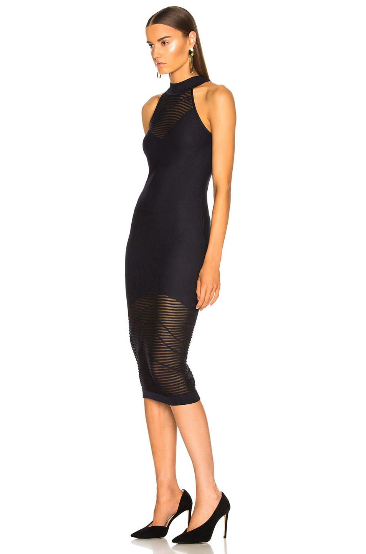 Image 3 of Cushnie Mock Neck Knit Dress in Ink & Black