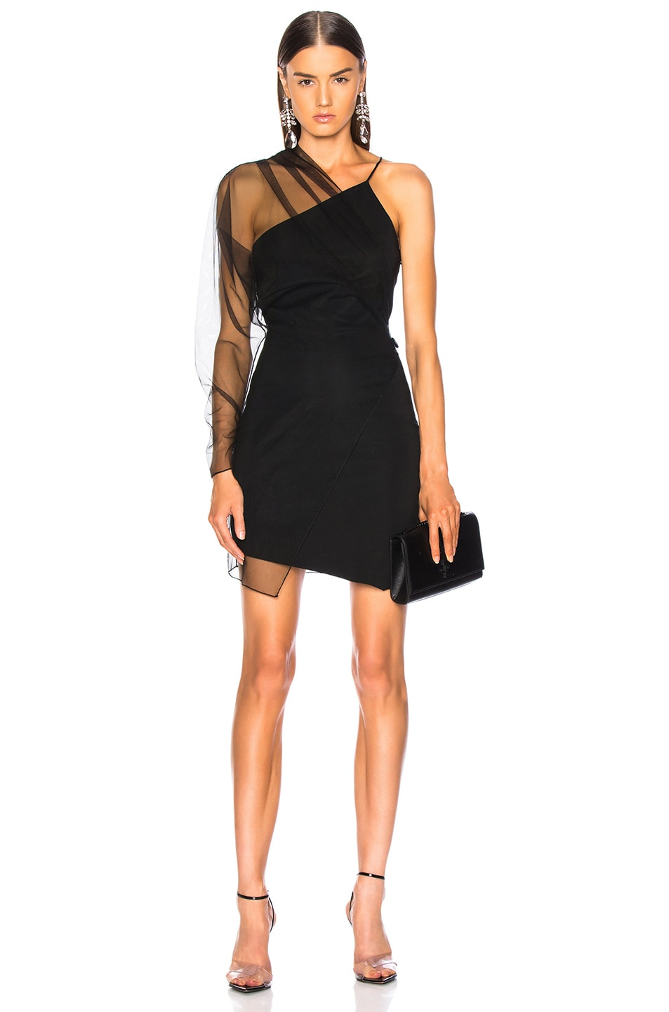 fe32d8c0261 Image 1 of Cushnie Single Sleeve Mini Dress in Black