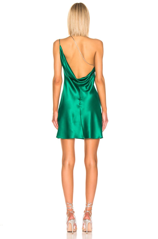 Image 4 of Cushnie for FWRD Asymmetrical Strap Mini Dress in Jade