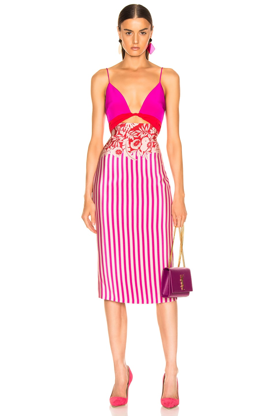 Image 1 of Cushnie Twisted Two Color Pencil Dress in Tropical Stripe Border
