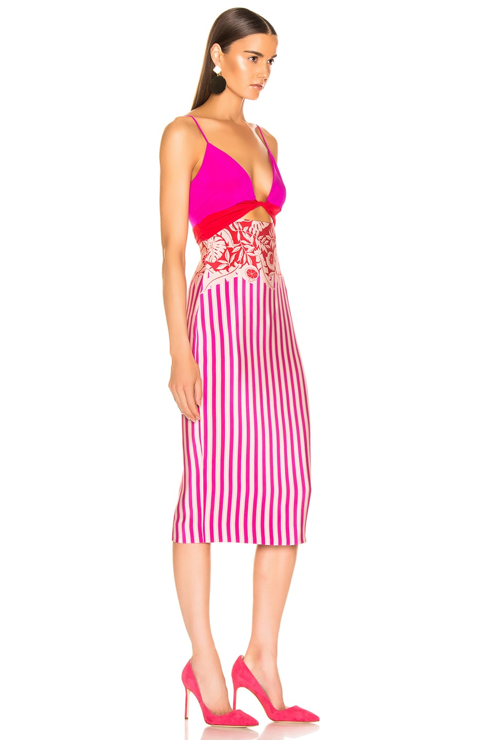 Image 2 of Cushnie Twisted Two Color Pencil Dress in Tropical Stripe Border