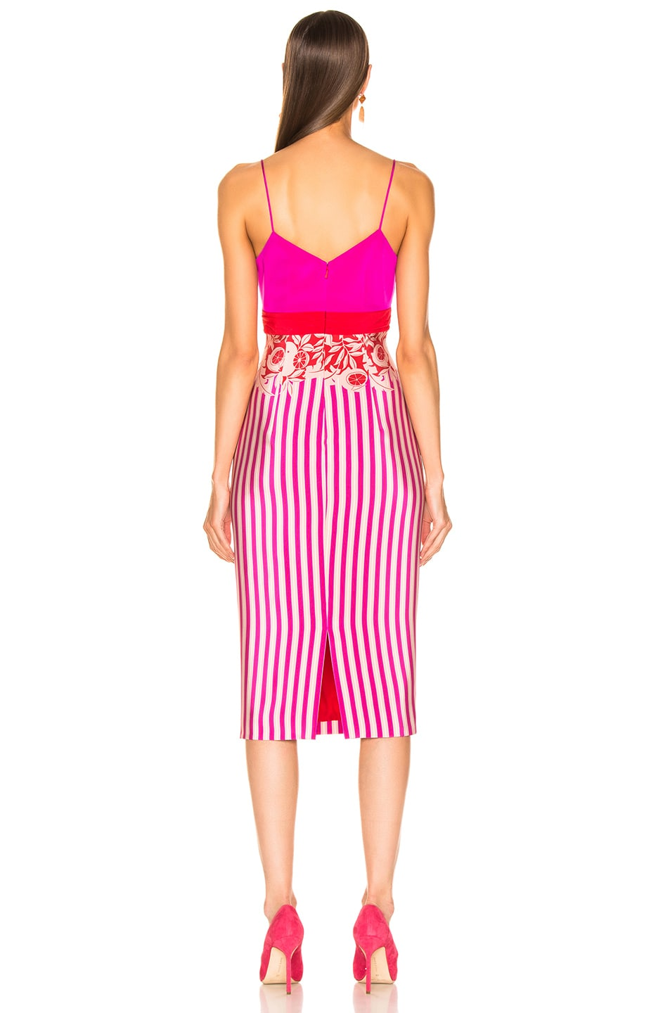 Image 3 of Cushnie Twisted Two Color Pencil Dress in Tropical Stripe Border