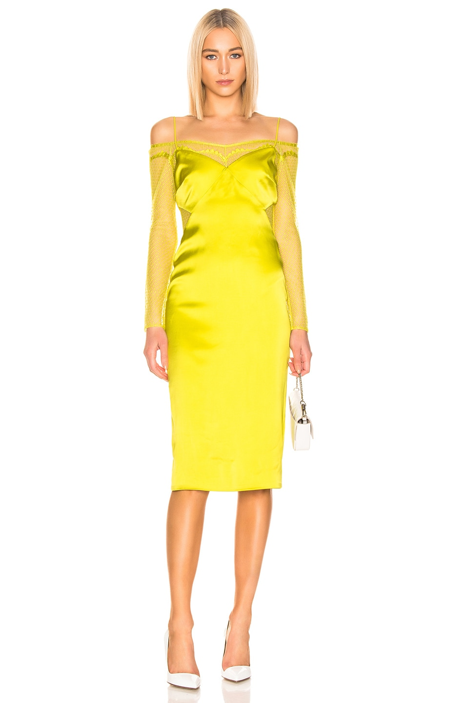 Image 1 of Cushnie Lace Underlay Pencil Dress in Lime