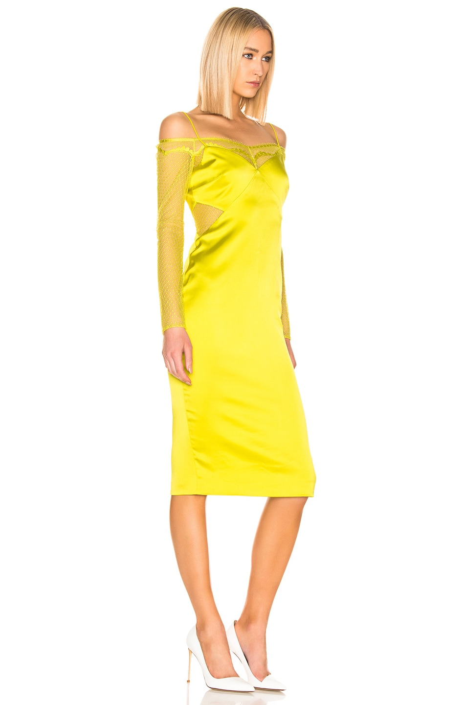 Image 2 of Cushnie Lace Underlay Pencil Dress in Lime