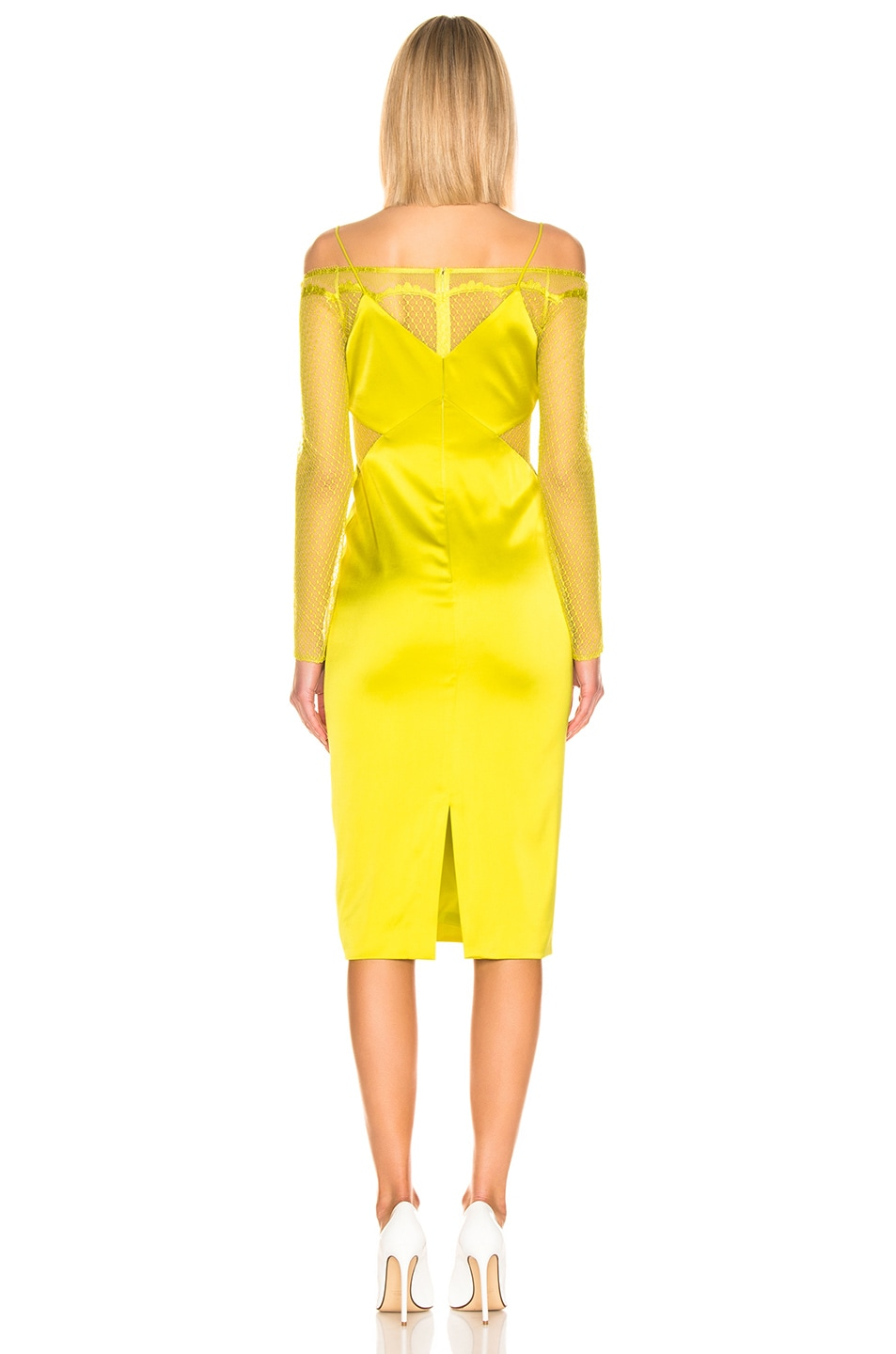 Image 4 of Cushnie Lace Underlay Pencil Dress in Lime