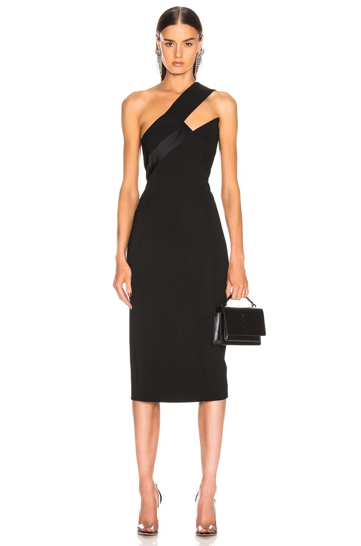 Image 1 of Cushnie Asymmetrical One Shoulder Dress in Black