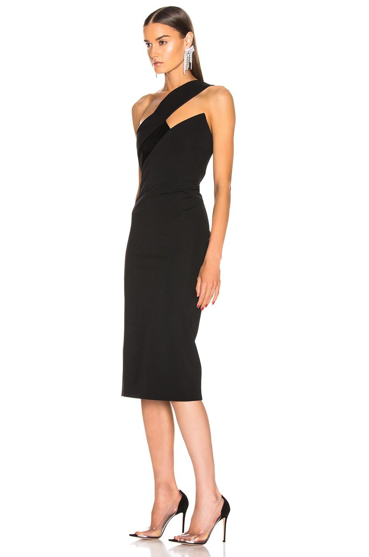 Image 3 of Cushnie Asymmetrical One Shoulder Dress in Black