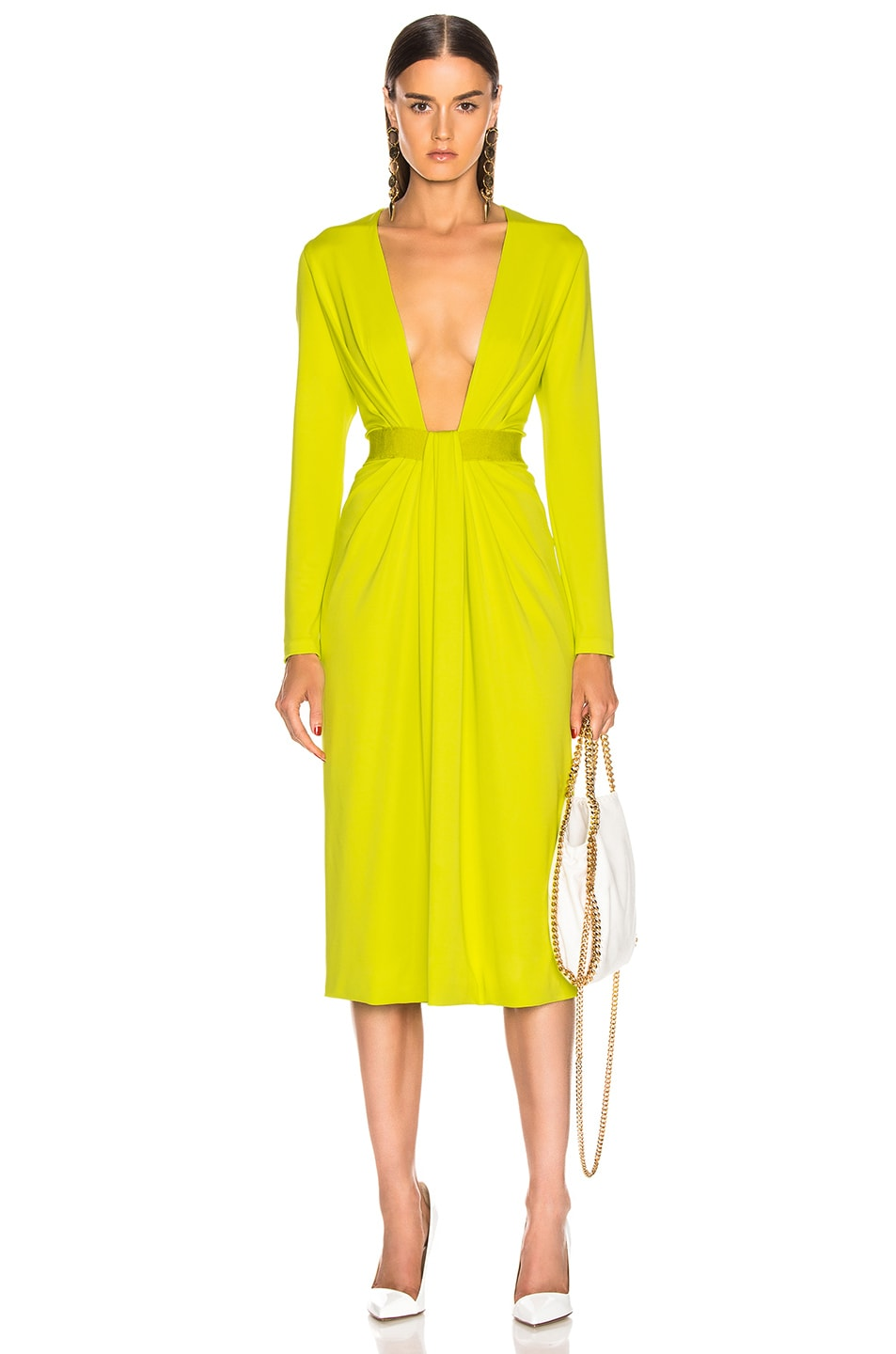 b42d7a7b078 Image 1 of Cushnie Plunging Long Sleeve Dress in Lime