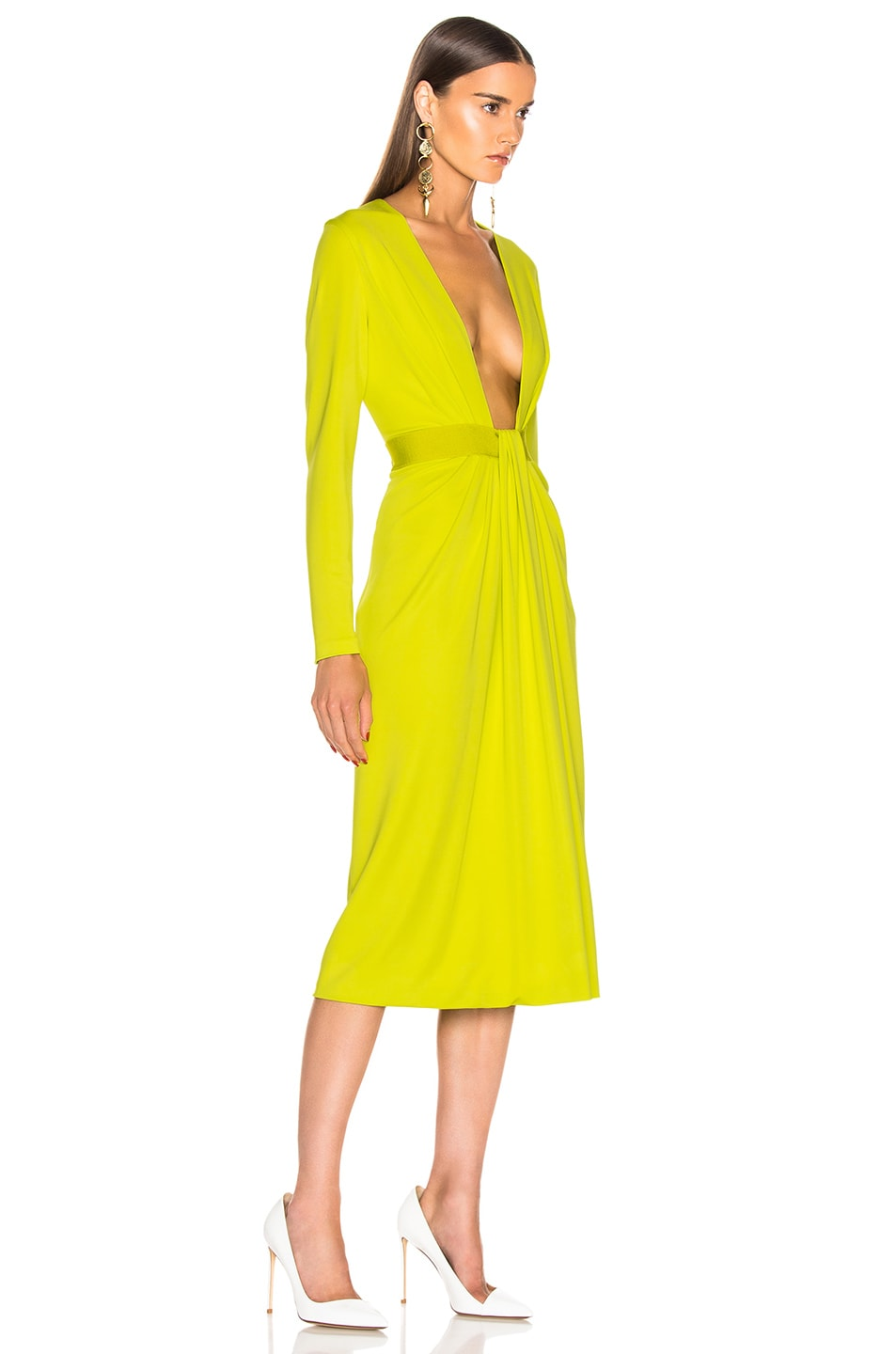 Image 2 of Cushnie Plunging Long Sleeve Dress in Lime