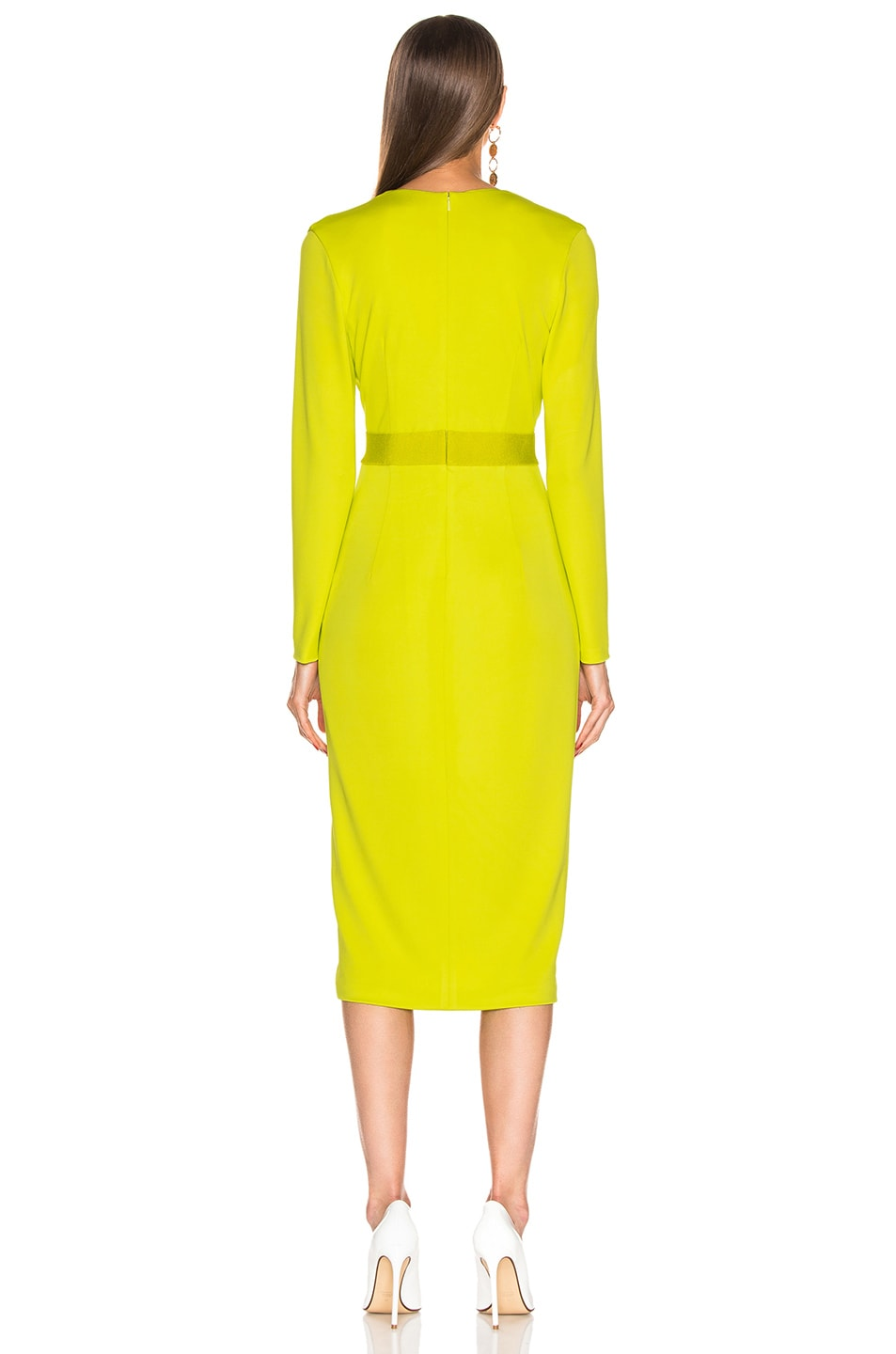 Image 3 of Cushnie Plunging Long Sleeve Dress in Lime