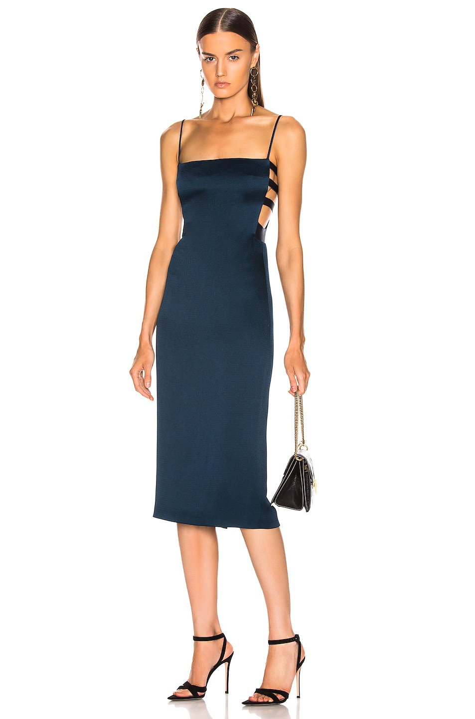 Image 1 of Cushnie Elastic Side Band Pencil Dress in Ocean