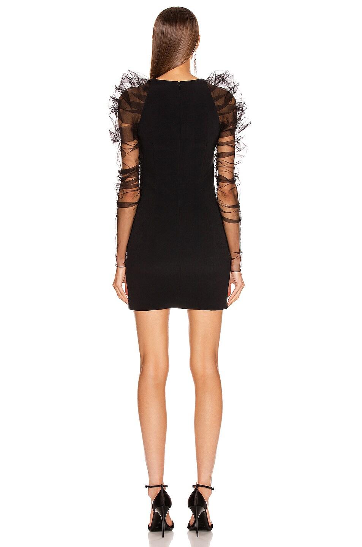 Image 3 of Cushnie Pleated Tulle Mini Dress in Black