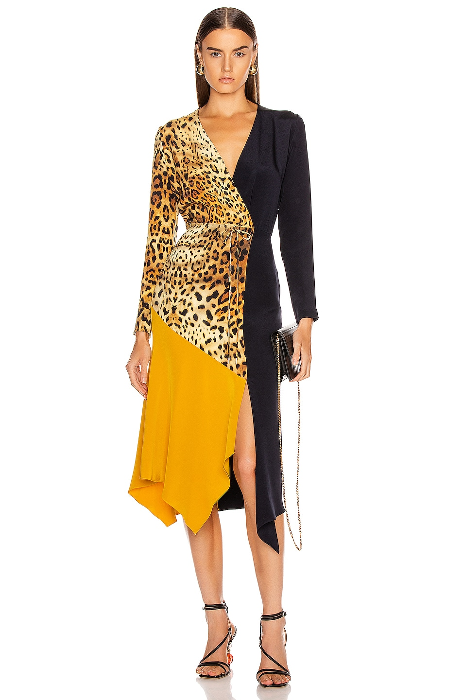 Image 1 of Cushnie Color Block Long Sleeve Dress in Tan Leopard, Navy & Antique Gold