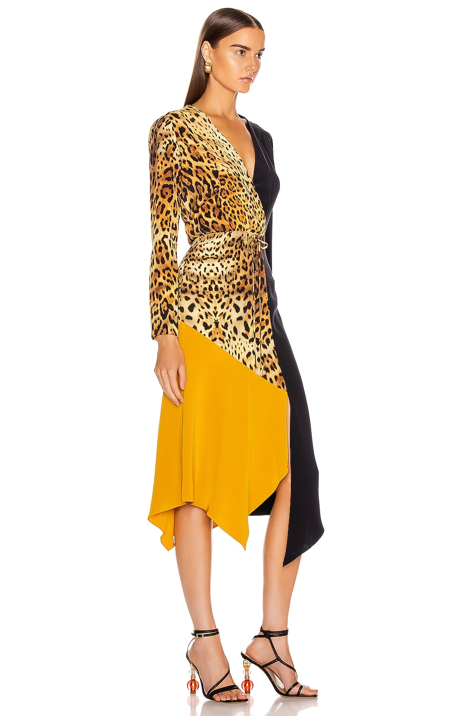 Image 2 of Cushnie Color Block Long Sleeve Dress in Tan Leopard, Navy & Antique Gold