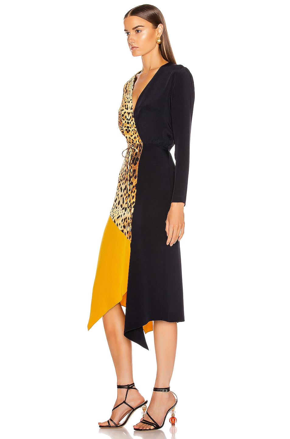 Image 3 of Cushnie Color Block Long Sleeve Dress in Tan Leopard, Navy & Antique Gold