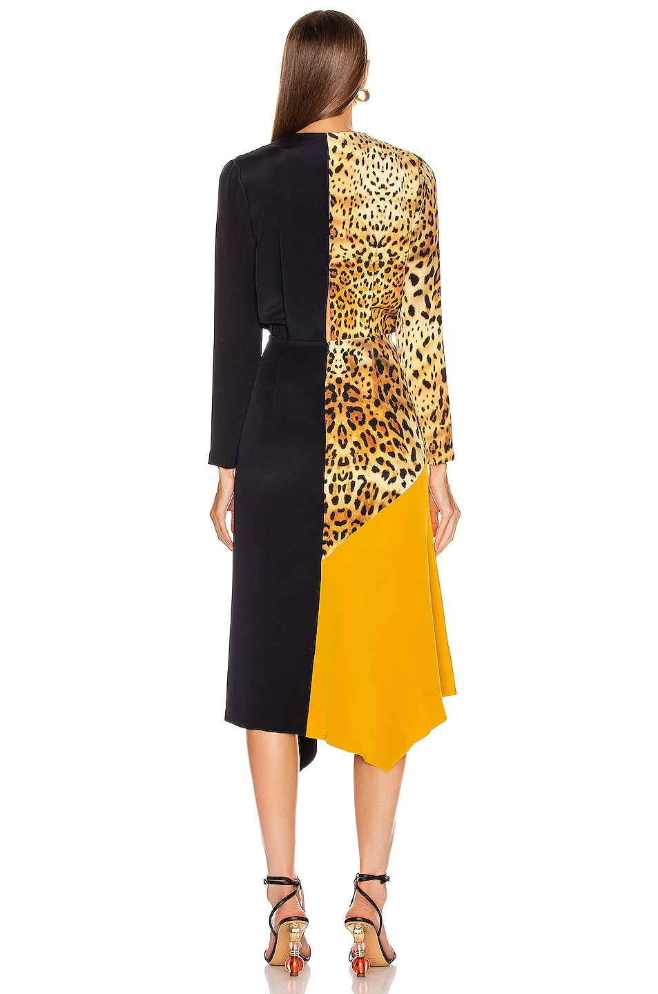 Image 4 of Cushnie Color Block Long Sleeve Dress in Tan Leopard, Navy & Antique Gold