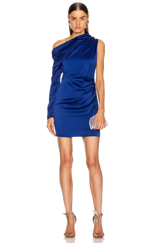 Image 1 of Cushnie Off the Shoulder Single Sleeve Mini Dress in Indigo