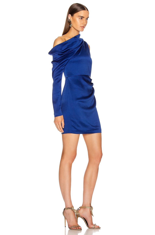 Image 2 of Cushnie Off the Shoulder Single Sleeve Mini Dress in Indigo