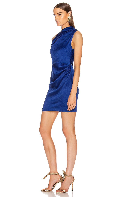 Image 3 of Cushnie Off the Shoulder Single Sleeve Mini Dress in Indigo