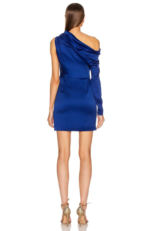 Image 4 of Cushnie Off the Shoulder Single Sleeve Mini Dress in Indigo