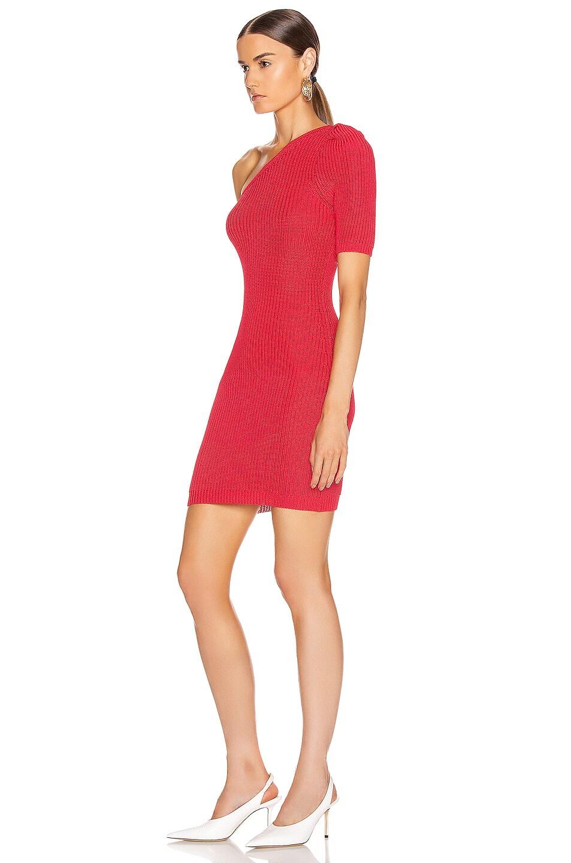 Image 3 of Cushnie One Shoulder Knit Mini Dress in Cerise