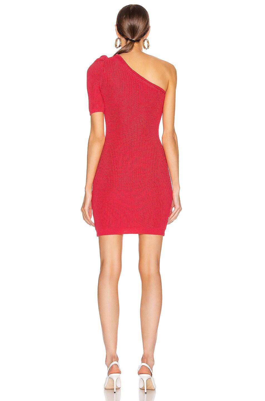 Image 4 of Cushnie One Shoulder Knit Mini Dress in Cerise