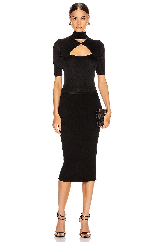 Image 1 of Cushnie Short Sleeve Mock Neck Pencil Dress in Black