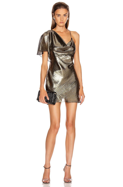 Image 1 of Cushnie Single Sleeved Mini Dress in Gold