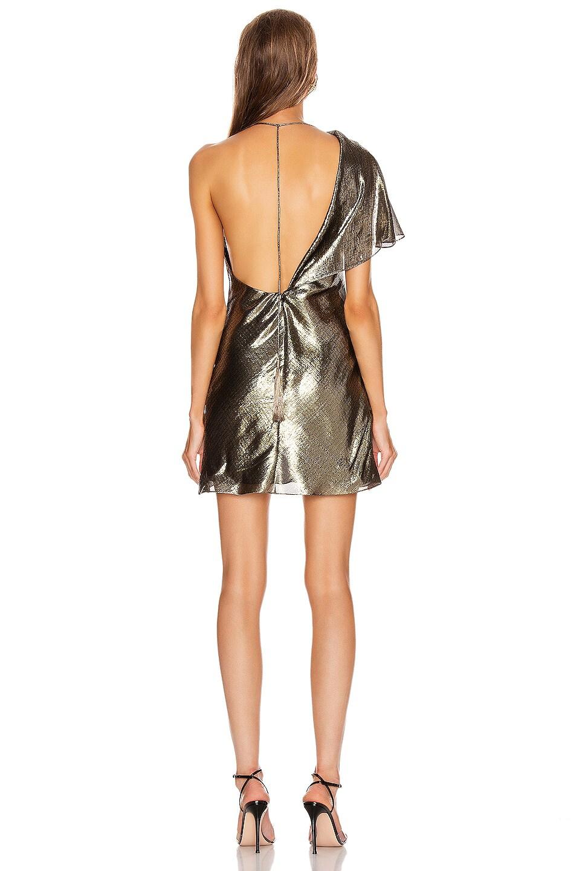 Image 4 of Cushnie Single Sleeved Mini Dress in Gold