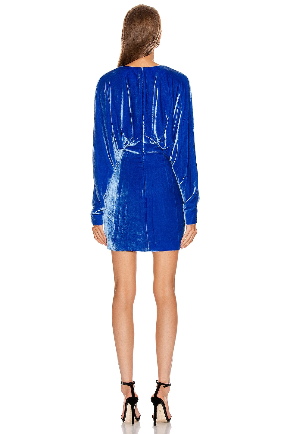 Image 3 of Cushnie Plunging Long Sleeved Mini Dress in Ultra Marine