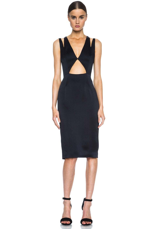 Image 1 of Cushnie et Ochs Deep V Cut Out Acetate-Blend Dress in Black
