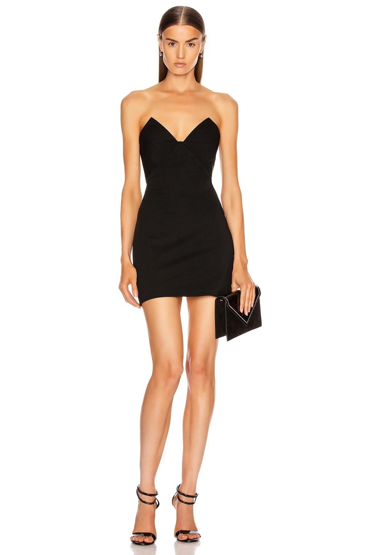 Image 1 of Cushnie Strapless Bustier Mini Dress in Black