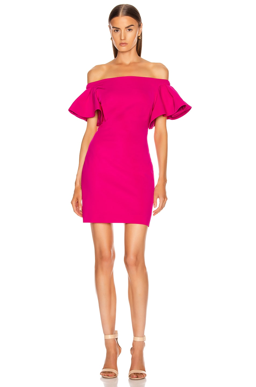 Image 1 of Cushnie Off the Shoulder Mini Dress in Azalea