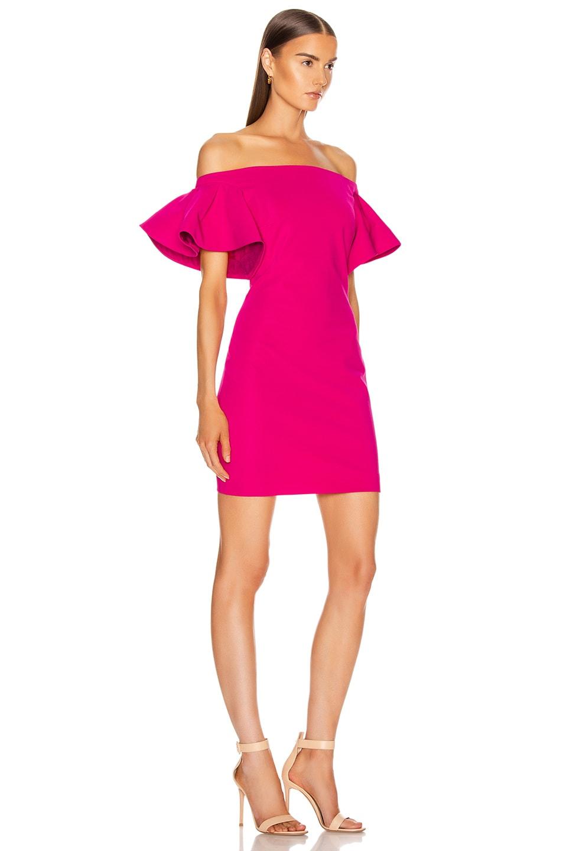 Image 2 of Cushnie Off the Shoulder Mini Dress in Azalea