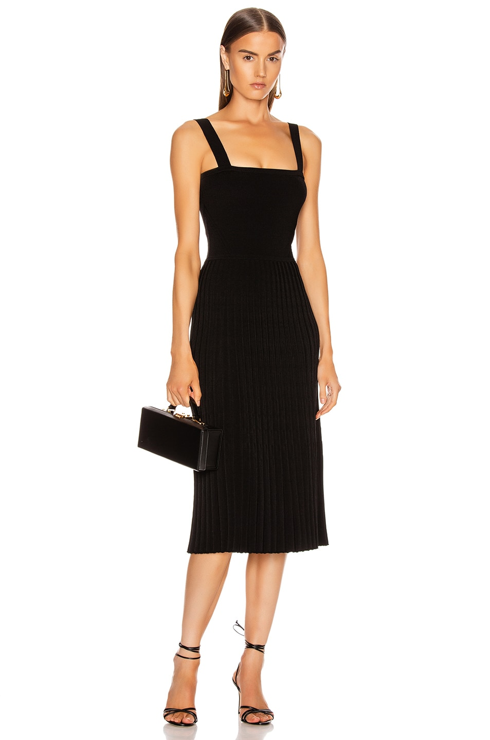 Image 1 of Cushnie Sleeveless Midi Fit and Flare Dress in Black