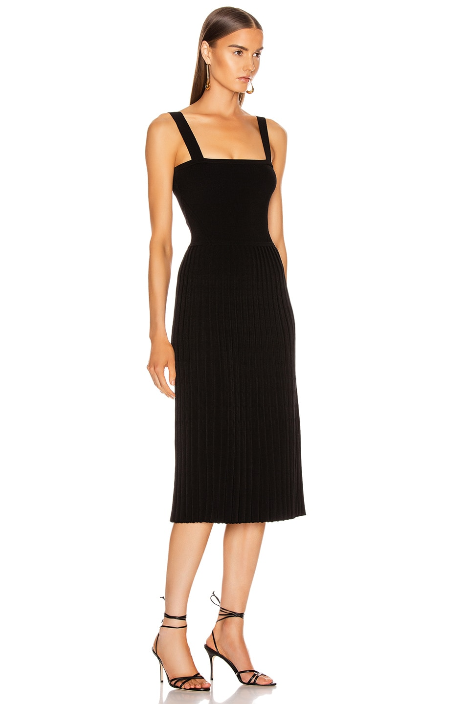 Image 2 of Cushnie Sleeveless Midi Fit and Flare Dress in Black