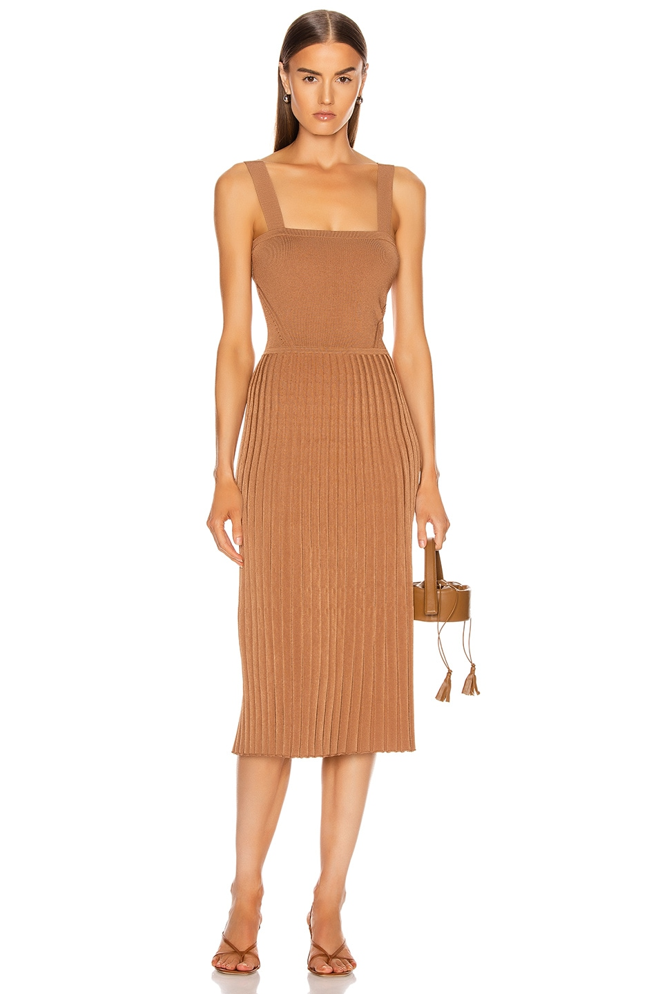 Image 1 of Cushnie Sleeveless Midi Fit and Flare Dress in Camel