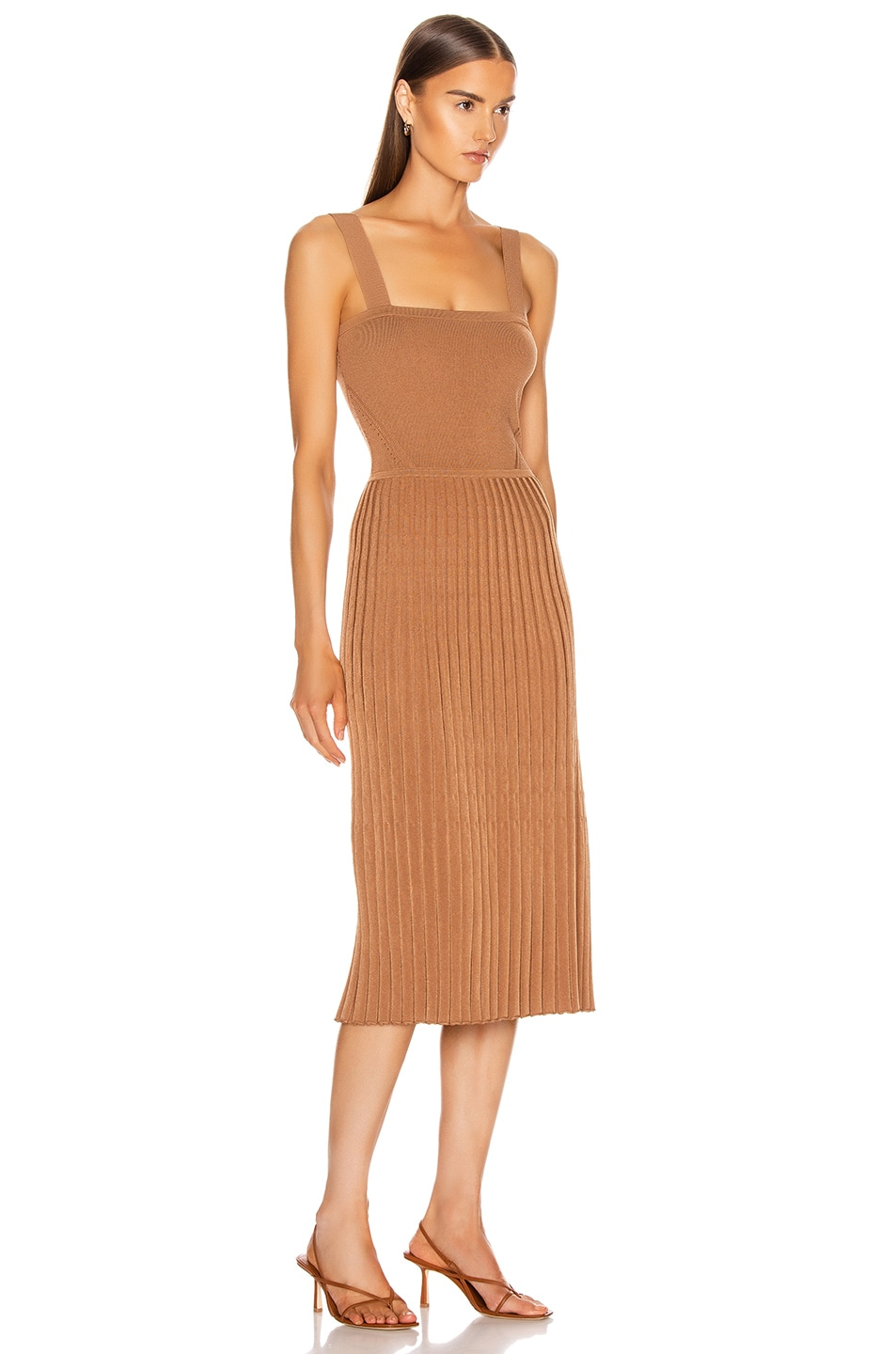 Image 2 of Cushnie Sleeveless Midi Fit and Flare Dress in Camel