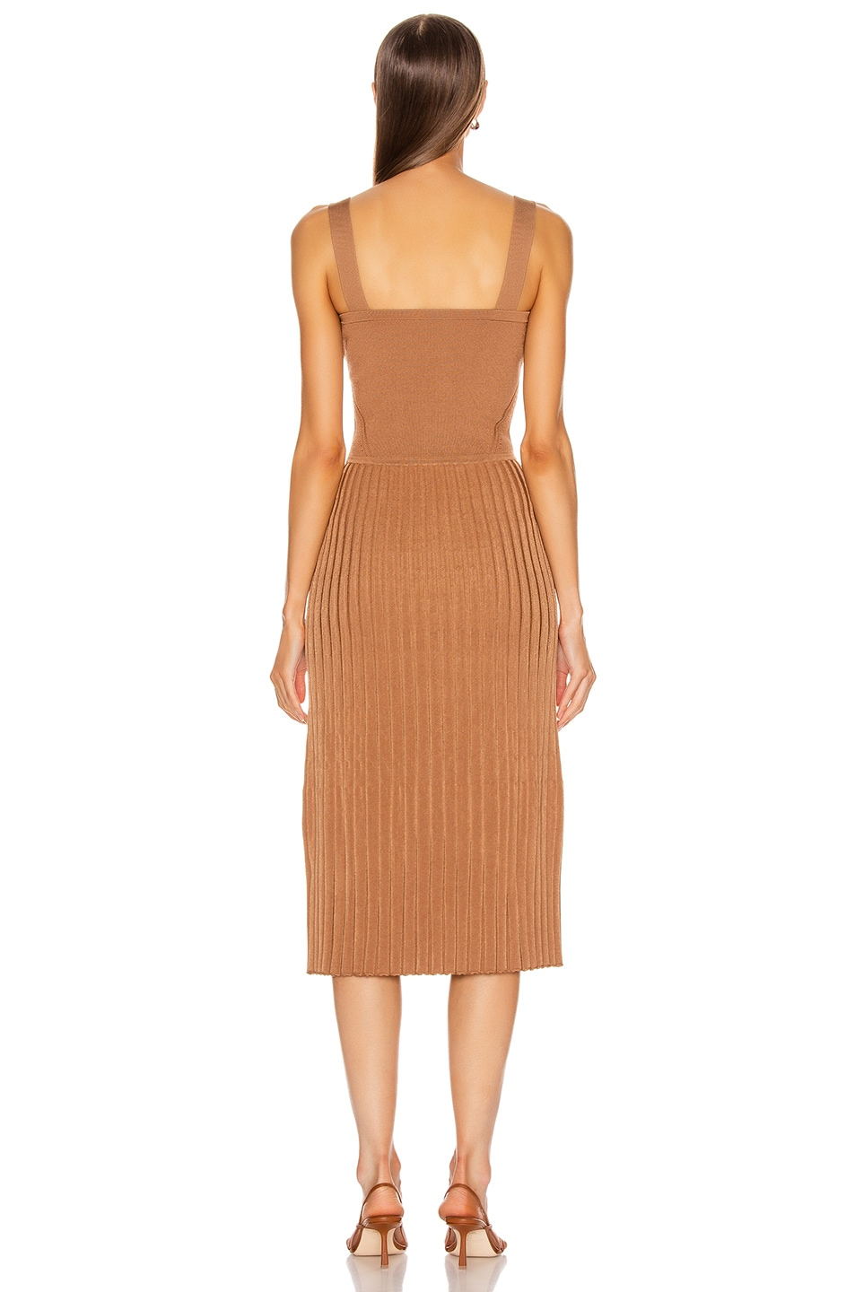 Image 3 of Cushnie Sleeveless Midi Fit and Flare Dress in Camel