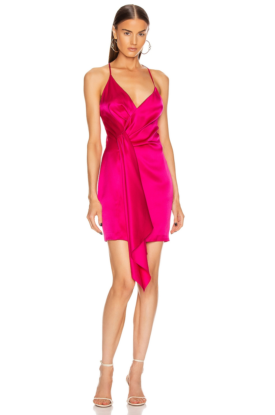 Image 1 of Cushnie Sleeveless Halter Neck Plunging Mini Dress in Azalea