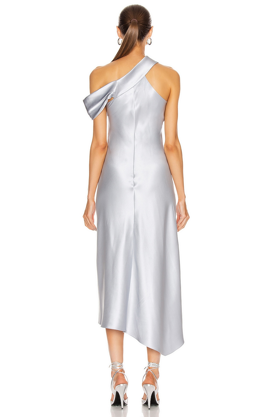 Image 4 of Cushnie Off the Shoulder Cascading Slip Dress in Pearl Blue