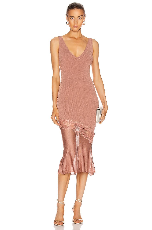 Image 1 of Cushnie Sleeveless V Neck Knit Dress in Rose Gold