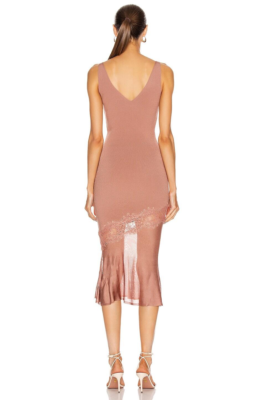 Image 4 of Cushnie Sleeveless V Neck Knit Dress in Rose Gold
