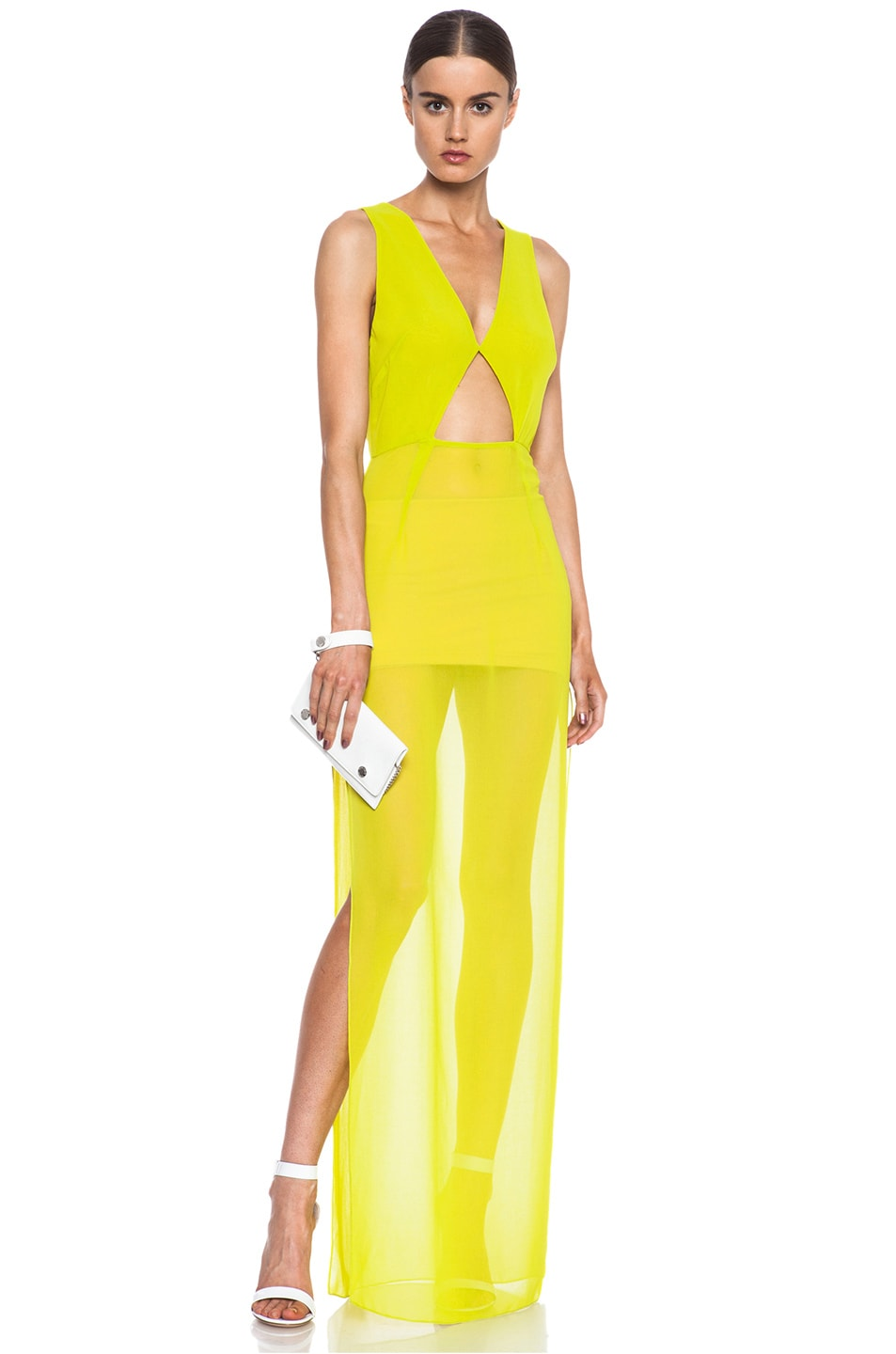 Image 1 of Cushnie et Ochs Cutout Poly Tank Dress in Key Lime