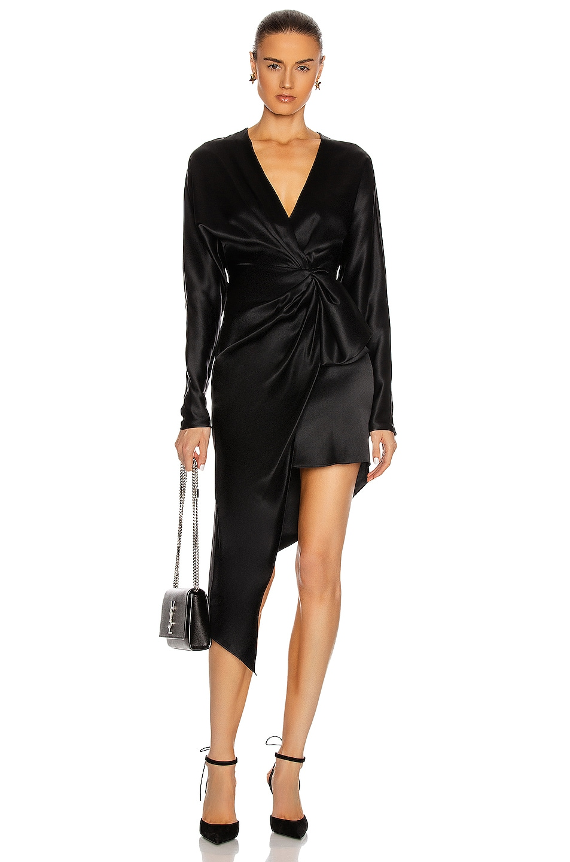 Image 1 of Cushnie Asymmetric Long Sleeve V Neck Dress in Black