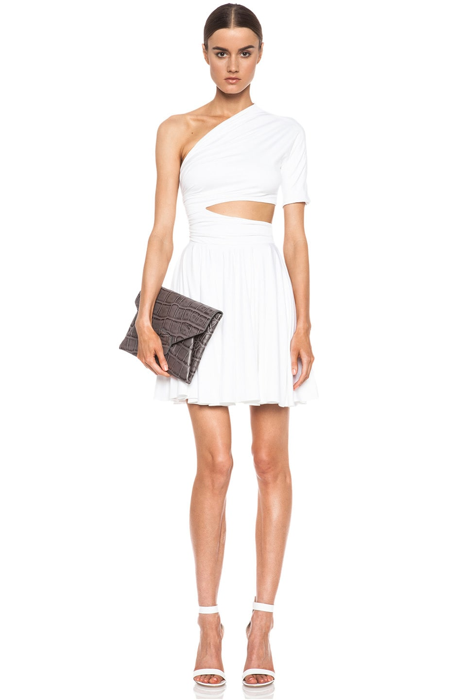 Image 1 Of Cushnie Et Ochs One Shoulder Cut Out Viscose Blend Dress In White