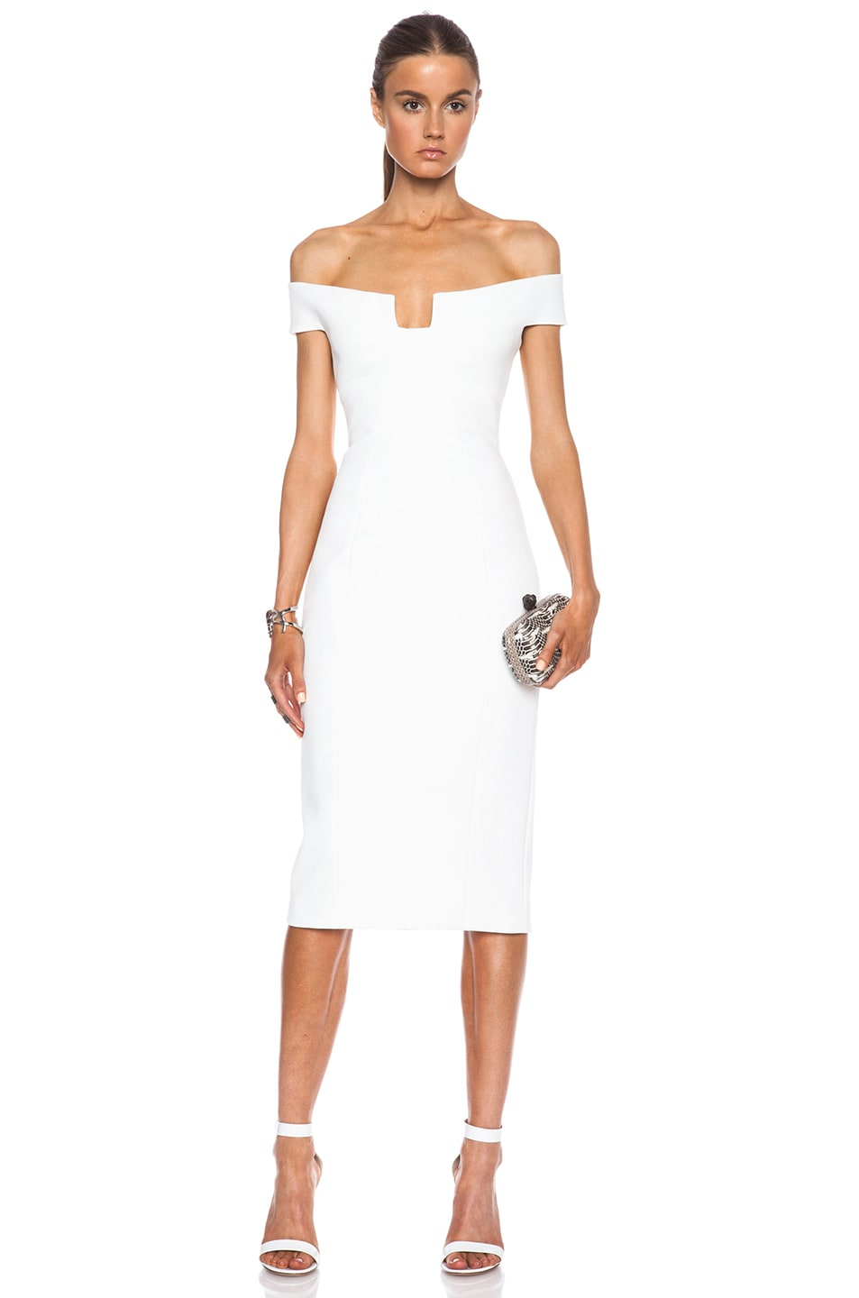 Image 1 of Cushnie et Ochs Neoprene Off the Shoulder Dress in White